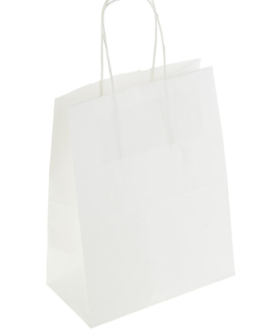 060-0144 Пакет крафт без печати, белый, круглая ручка 22 х 12 х 25 см