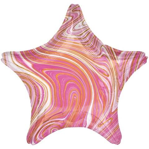 Воздушный шар с гелием Звезда Розовый мрамор, 45 см