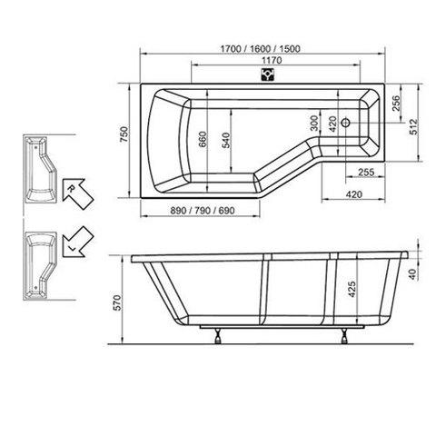 Ванна акриловая Ravak Be Happy 150x75 P C151000000 схема