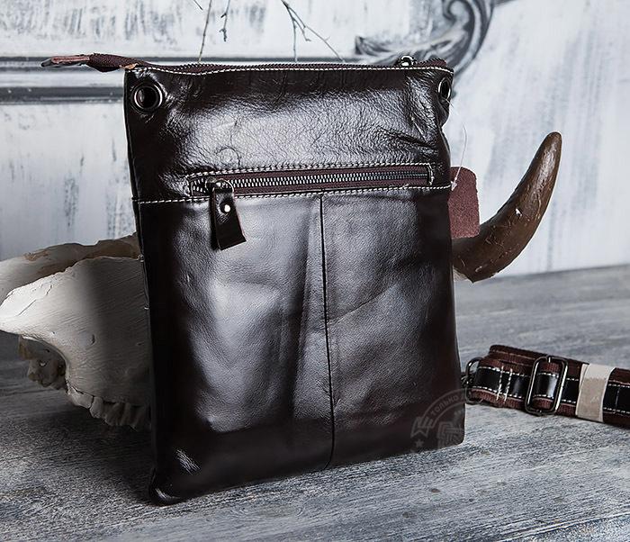 BAG403-2 Красивая мужская сумка из кожи с ремнем на плечо фото 06