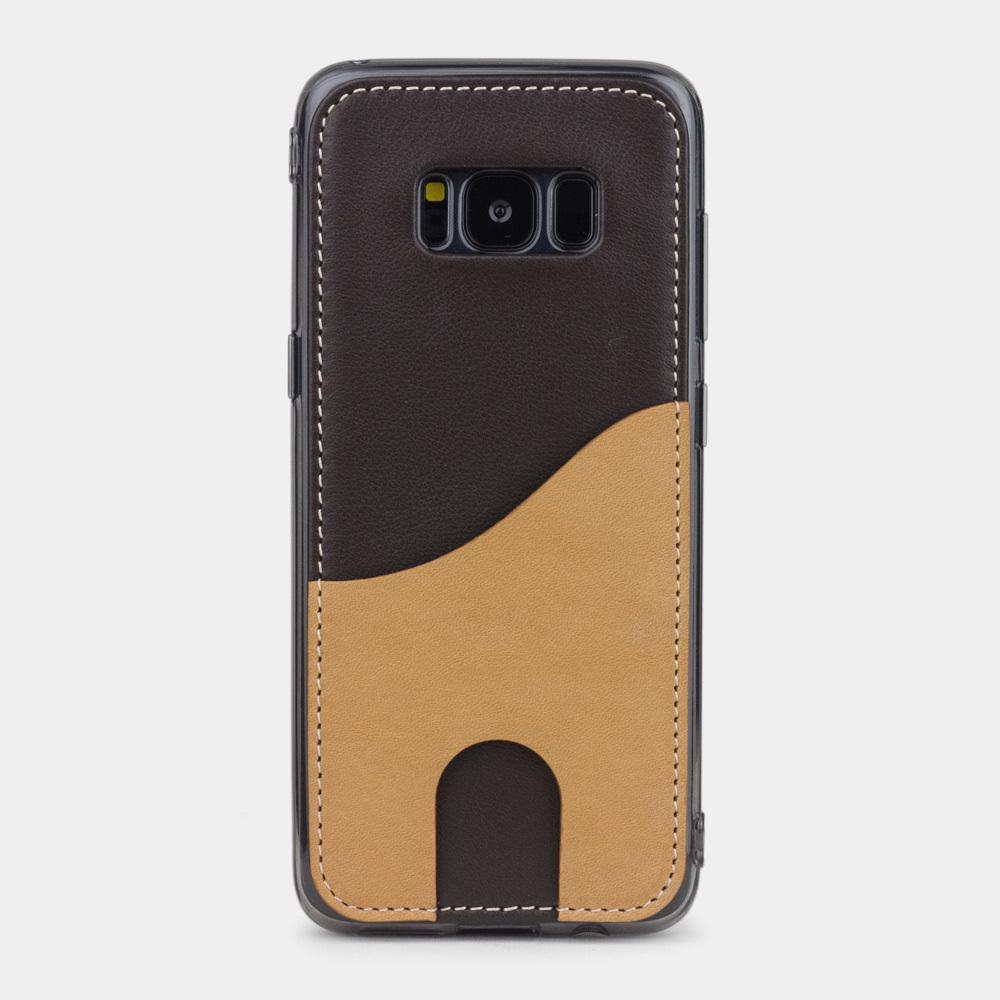 Чехол-накладка Andre для Samsung S8 Plus из натуральной кожи теленка, темно-коричневого цвета