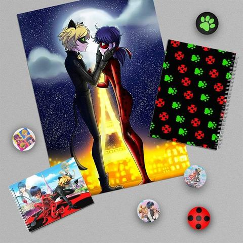 Леди Баг и Супер Кот: набор из плаката А3, тетради, блокнота и 5 значков