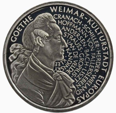 10 марок. 250 лет со дня рождения Иоганна Вольфганга фон Гете (F). Серебро. 1999 г. PROOF. В родной запайке