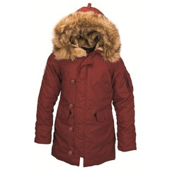 Парка Alpha Industries Altitude W Red Ochre с натуральным мехом (красная)