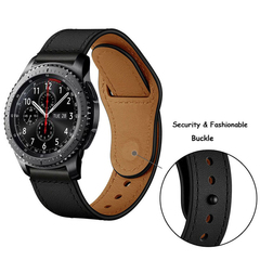 Кожаный ремешок 22мм (черный) Fohuas Leather Loop для Samsung Gear S3/Galaxy Watch 46