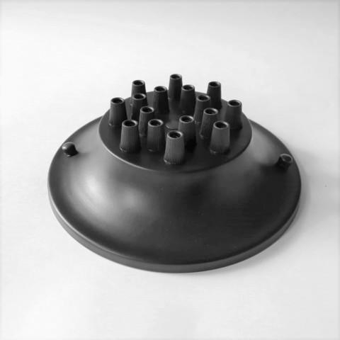 Чашка потолочная на 16 выводов (Черный)