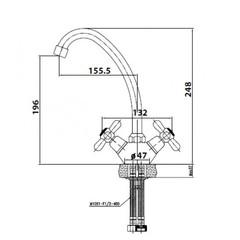 Смеситель KAISER Carlson 11022 для кухни схема