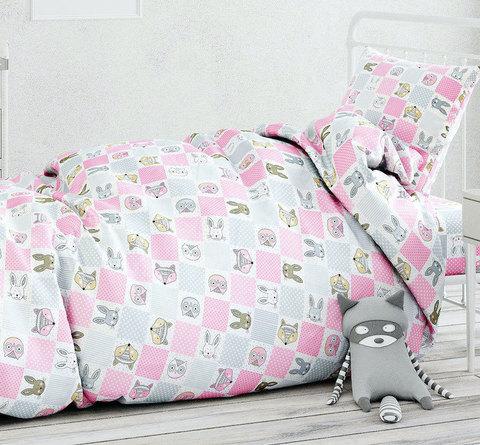 Папитто. Комплект постельного белья из сатина с простыней на резинке Лоскуток, розовый