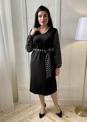 Лора. Комбінована сукня великих розмірів. Чорний