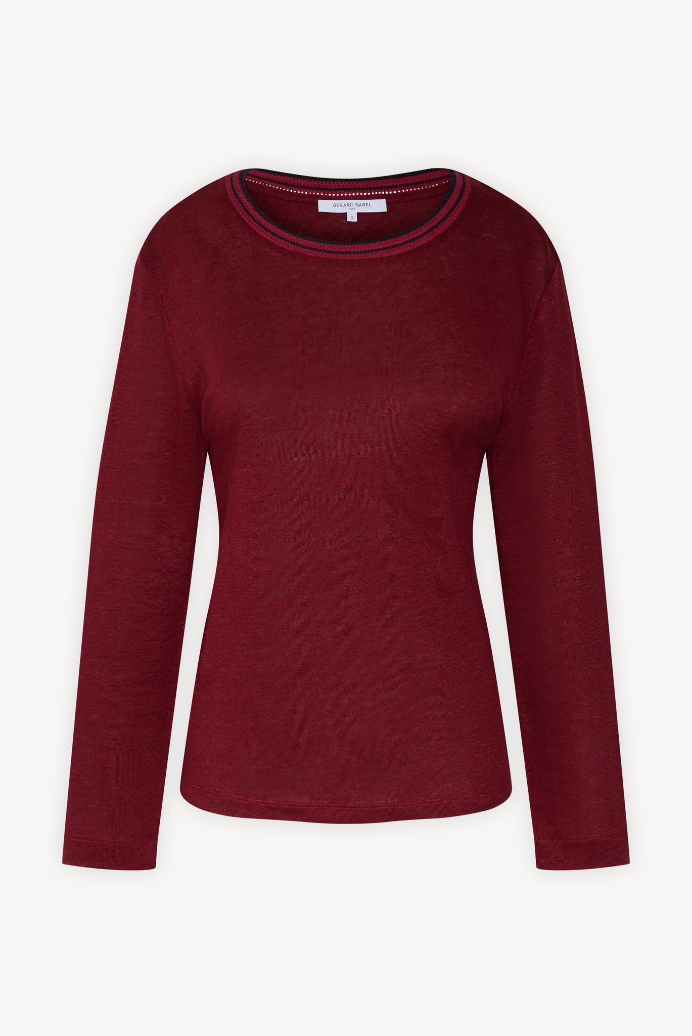 Пуловер изо льна с круглым вырезом