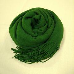 Кашемировый однотонный зелёный палантин (34)