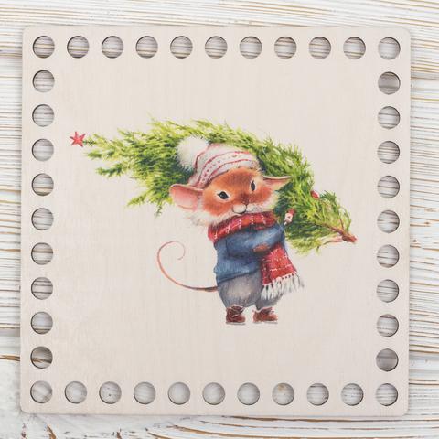 """Квадратная заготовка с рисунком """"Новогодняя мышка"""" 15см из фанеры"""