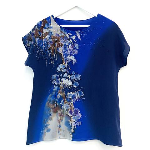 Шелковая блузка батик Сакура в синеве