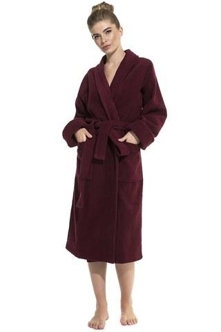 Женский махровый банный халат  Red Queen 305 бордовый