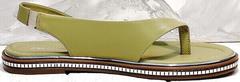 Летние сандали босоножки кожаные женские Evromoda 454-411 Olive.