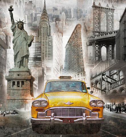 Алмазная Мозаика 40x50 Желтое такси в мегаполисе