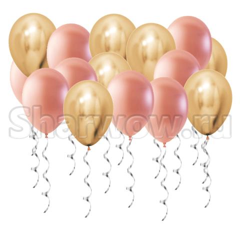 Воздушные шары под потолок Золото хром и розовое золото