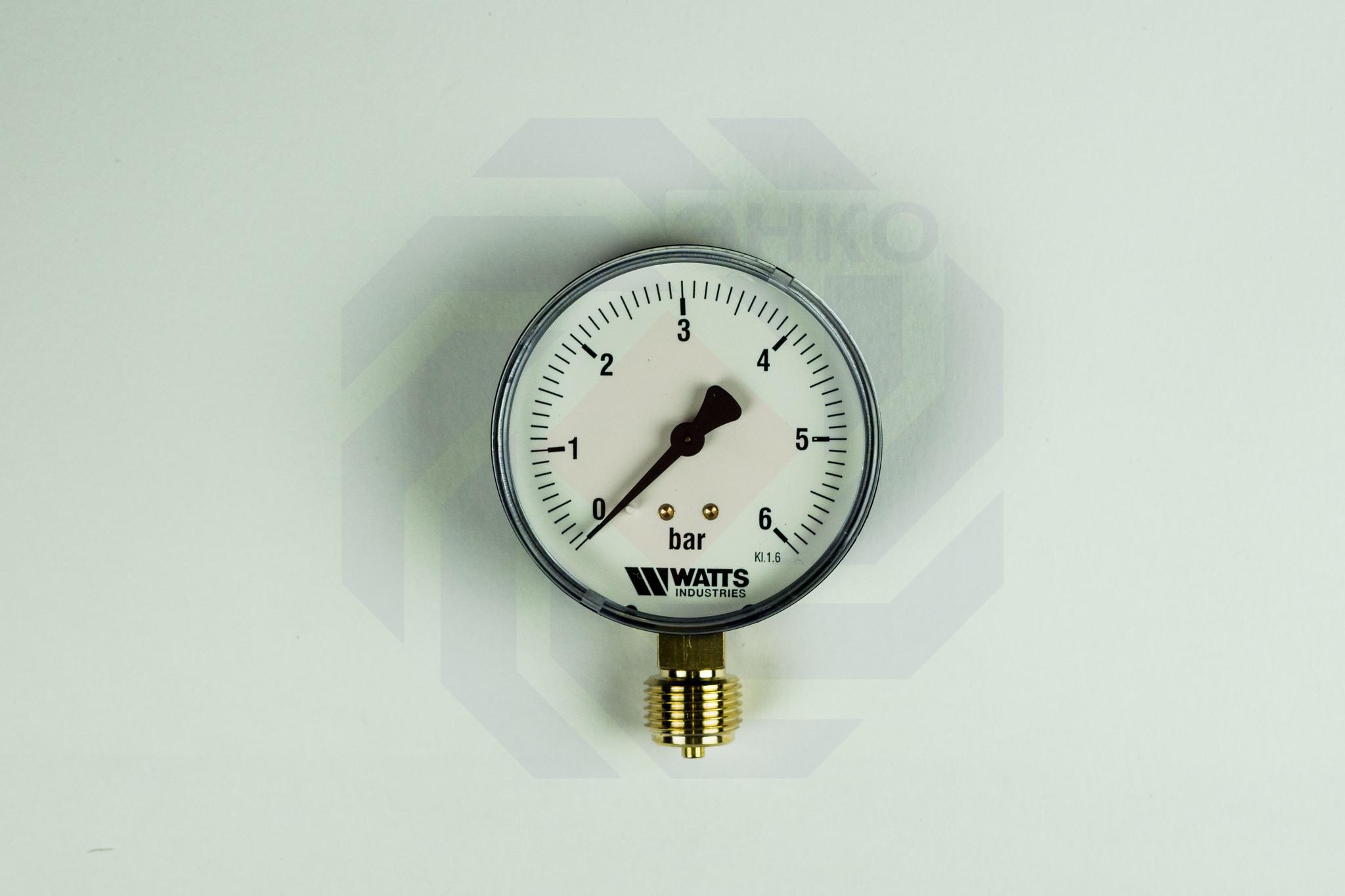 Манометр радиальный WATTS MDR 80/6 (F+R200) 0-6 бар 80 мм ½