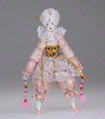 Ёлочная игрушка Клоунесса розовая в белом парике
