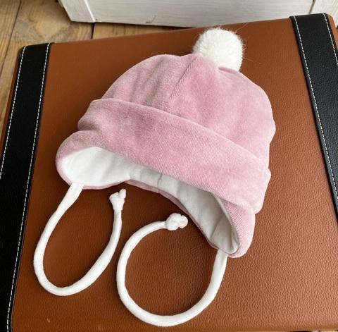 Велюровая шапочка для новорожденных (0-3 мес, пудра)