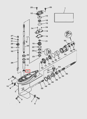 Подшипник игольчатый для лодочного мотора T40 Sea-PRO (23-11)