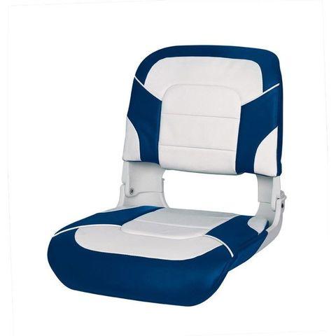Сиденье пластмассовое складное с подложкой All Weather High Back Seat, бело-синее