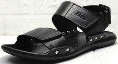 Кожаные сандалии босоножки на липучке мужские Zlett 7083 Black.