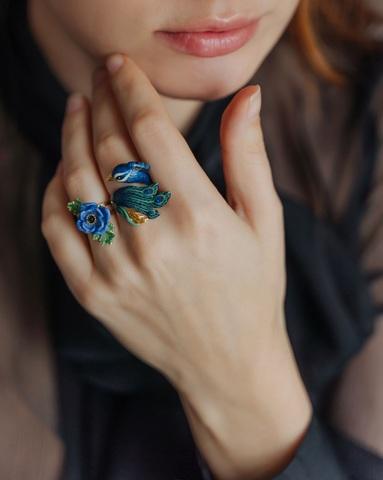 Кольцо Анемона (голубая)
