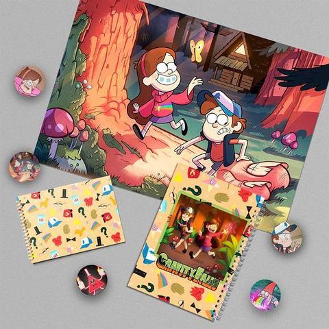 Герои Гравити Фолз: набор из плаката А3, тетради, блокнота и 5 значков