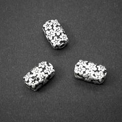 Бусина Цветочная 10,5х6,5 мм серебро 925