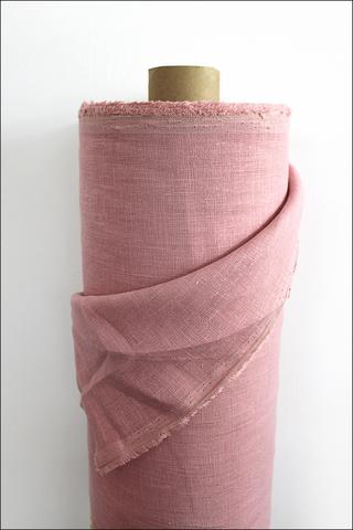 Розовый пион, лен костюмный, умягченный