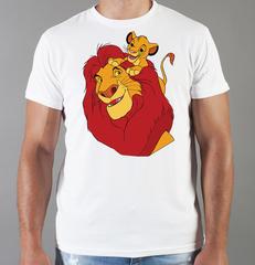 Футболка с принтом мультфильма Король лев (The Lion King, Симба, Муфаса) белая 006
