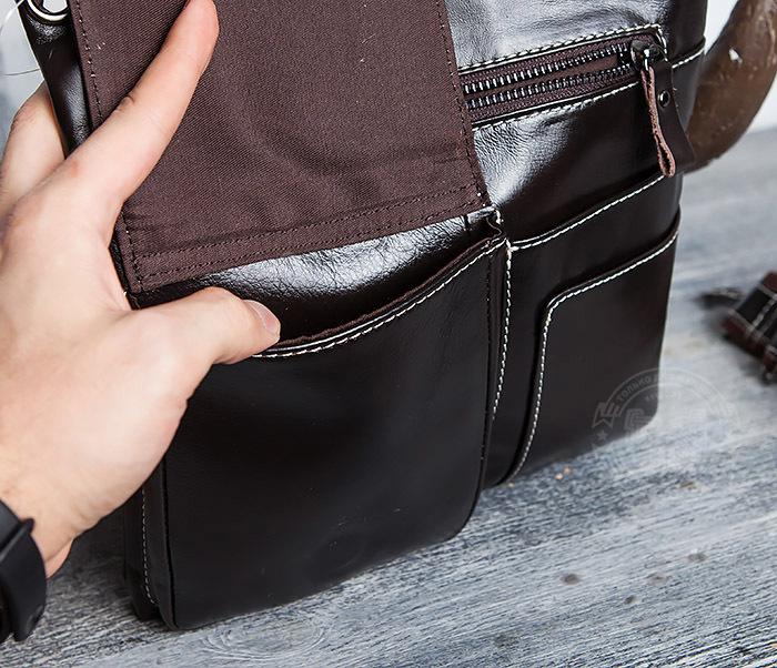 BAG403-2 Красивая мужская сумка из кожи с ремнем на плечо фото 10
