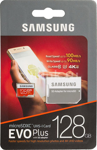 Карта памяти Samsung microSDHC 128 Гб, EVO Plus