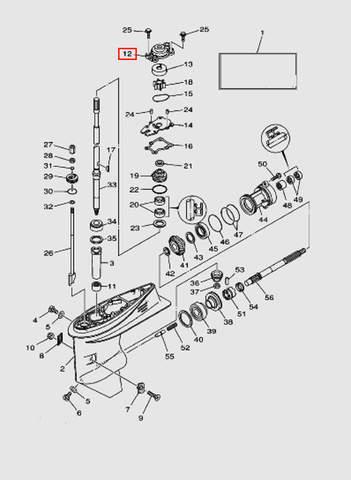 Корпус помпы для лодочного мотора T40 Sea-PRO (23-12)