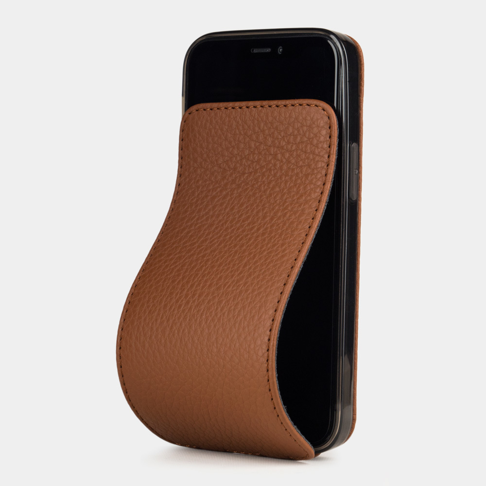 Чехол для iPhone 12 Mini из натуральной кожи теленка, цвета карамели
