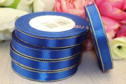 Атласная лента с люрексом 12мм Тёмно-Синяя, золото (25ярд)
