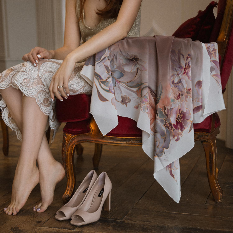 Шелковый платок батик Вуаль