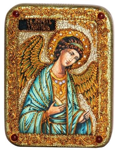 Инкрустированная икона Ангел Хранитель 20х15см на натуральном дереве в подарочной коробке