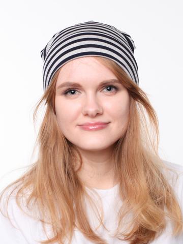 Полосатая вискозная летняя шапочка бини