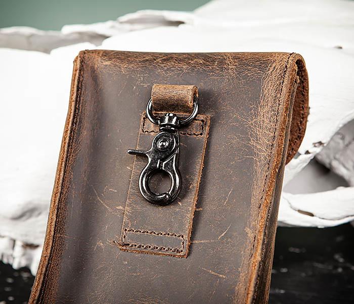 BAG498-2 Мужская кожаная сумка на пояс коричневого цвета фото 04