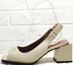 Кожаные женские босоножки на каблуке бежевые Brocoli H150-9137-2234 Cream