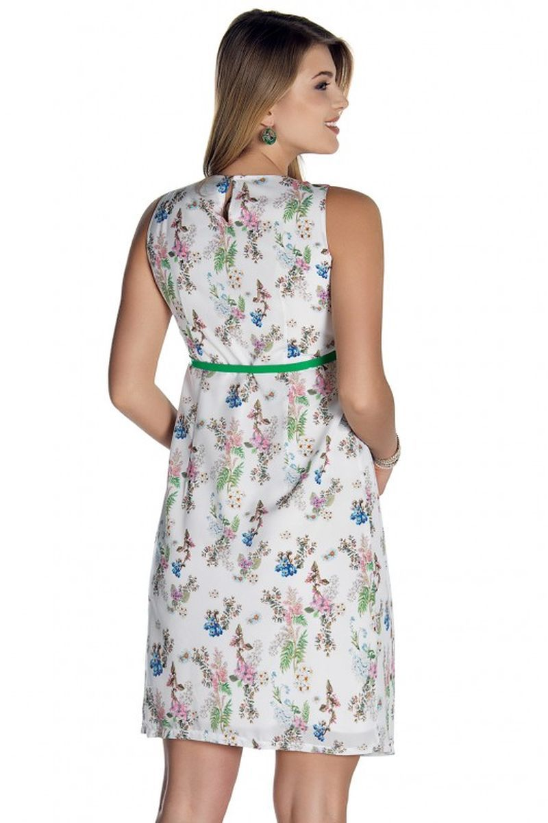 Фото платье для беременных EBRU от магазина СкороМама, белый, принт цветы, размеры.