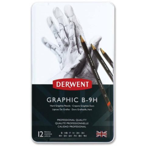 Набор чернографитных карандашей GRAPHIC HARD 12шт B-9H в метал.упаковке