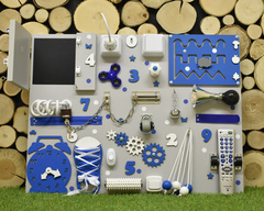 Бизиборд стандарт 50х65 см с ТВ-пультом Синий для мальчика