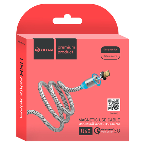 Кабель USB - microUSB U40 QC3.0 2.4A 1M (магнитный) серебро DREAM