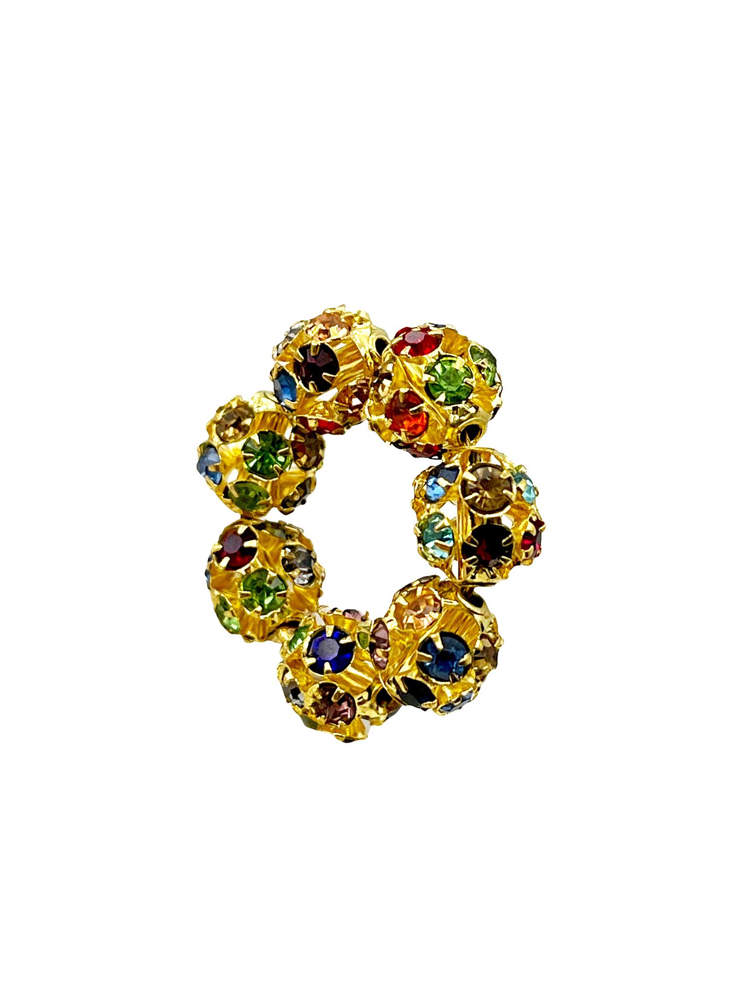 Подвеска Кольцо из сверкающих бусин 8 мм / multicolor /
