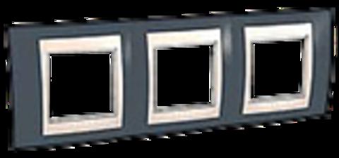 Рамка на 3 поста. Цвет Серо-зеленый/бежевый. Schneider electric Unica Хамелеон. MGU6.006.577