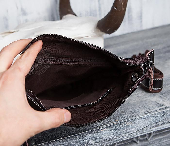 BAG403-2 Красивая мужская сумка из кожи с ремнем на плечо фото 11