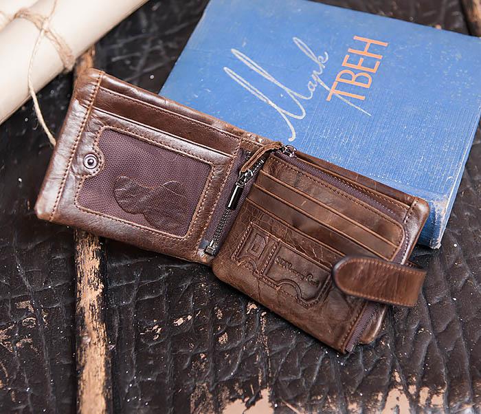 WL253-2 Мужское портмоне на застежке из натуральной кожи фото 04